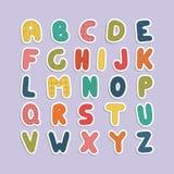 Rolig stilsort för tecknad film Färgengelska behandla som ett barn alfabet Royaltyfri Fotografi