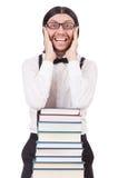 Rolig student med isolerade böcker Royaltyfria Bilder