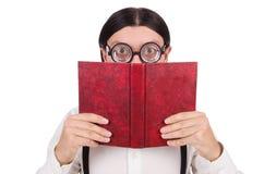 Rolig student med isolerade böcker Arkivfoto