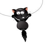 Rolig svart katt också vektor för coreldrawillustration Arkivbild