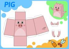 Rolig svinpappersmodell Litet hem- hantverkprojekt, DIY-papperslek Klipp ut, vik och limma Utklipp för barn vektor stock illustrationer
