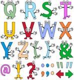 rolig tecknad film för 2 alfabet stock illustrationer