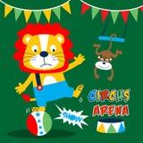 Rolig tecknad film för djurcirkus, vektorillustration Royaltyfria Foton
