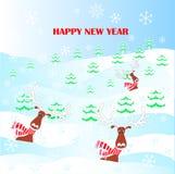 Rolig tecknad film, gullig ren i den röda randiga halsduken, hatt med vita horn, snö, snöflingor, för stock illustrationer