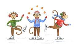 Rolig tecknad filmapa på isskridskor Vattenfärgapa och garneringbeståndsdelar för nytt år Maskotillustration av julkortet Fotografering för Bildbyråer