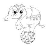 Rolig tecknad filmcirkuselefant som balanserar på boll stock illustrationer