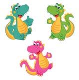 Rolig tecknad filmdinosaurie i olika färger Emerald Dinosaur Grön Dinosaur Rosa dinosaurie Fastställd illustration för vektor royaltyfri illustrationer