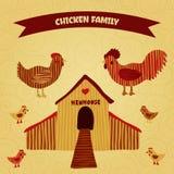 Rolig tecknad filmetikett för organisk lantgård med familjhöna: hane höna med hönor, hönshus Royaltyfri Foto