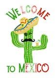Rolig tecknad filmkaktus med sombreron och tequila, lopp till det Mexico begreppet Royaltyfri Bild