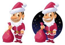 Rolig tecknad filmman i den Santa Claus dräkten Royaltyfri Bild