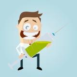 Rolig tecknad filmman med den stora injektionssprutan Arkivfoto