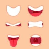 Rolig tecknad filmmunuppsättning med olika uttryck Le med tänder som ut klibbar tungan som förvånas stock illustrationer