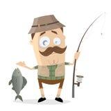 Rolig tecknad filmsportfiskare med en stor fisk och metspö stock illustrationer