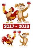 Rolig tecknad filmtupp och hund som symboler av nytt år 2017 och 20 Royaltyfria Bilder