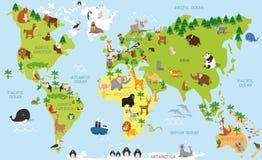 Rolig tecknad filmvärldskarta med traditionella djur allra kontinenterna och haven Vektorillustration för förskole- utbildning Royaltyfria Bilder