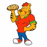 Rolig tiger som upp rymmer en pizza stock illustrationer