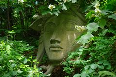 rolig trädgårds- staty för koblomkruka Arkivbild
