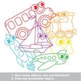 Rolig uppsättning för leksaktransportmischmasch i vektor stock illustrationer