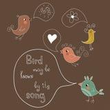 Rolig uppsättning med gulliga fåglar. Sjunger vilken fågel? Royaltyfria Foton