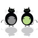 Rolig vektor för svart katt två Royaltyfri Fotografi
