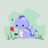 Rolig vektorillustration av en gullig dinosaurie vektor illustrationer