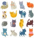 Rolig vektoruppsättning av katter Samling av gulliga tecken Royaltyfria Foton