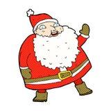 rolig vinkande Santa Claus komikertecknad film Arkivfoto
