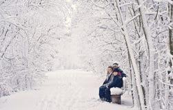 rolig vinter för familj Arkivfoto