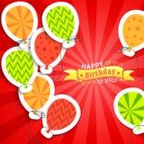 Rolig vykort för lycklig födelsedag med ballonger Royaltyfri Foto