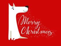 rolig white för hund Symbol av året 2018 Plan stil, illustration som isoleras på en vit bakgrund Gullig vektorvalp Fotografering för Bildbyråer