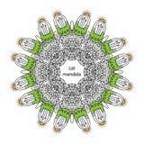 Rolig zentanglekattmandala - sida för färgläggningbok för vuxna människor Arkivfoto