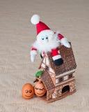Roliga ägg, santa, hus Arkivbilder
