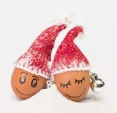 Roliga älskvärda ägg i vintersanta hattar Arkivfoto