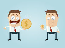 Roliga affärsmän som jämför deras inkomst stock illustrationer
