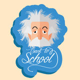 Roliga Albert Einstein Cartoon Portrait Isolated stock illustrationer