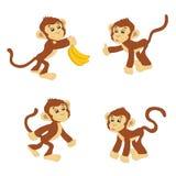 Roliga apor med bananer Royaltyfri Bild