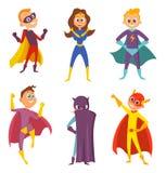 Roliga barn Superheroespojkar och flickor i handling poserar Isolat för uppsättning för tecknad filmtecken på vit royaltyfri illustrationer