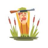 Roliga barnsliga Hunter Character With Moustache Going till och med illustrationen för träsktecknad filmvektor Fotografering för Bildbyråer