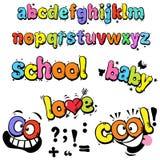 Roliga bokstäver för tecknad film Arkivfoton