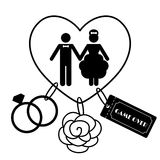 Roliga bröllopsymboler för tecknad film - lek över Royaltyfri Bild
