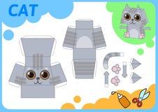 Roliga Cat Paper Model Litet hem- hantverkprojekt, DIY-papperslek Klipp ut, vik och limma Utklipp för barn vektor royaltyfri illustrationer