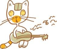 Roliga Cat Playing gitarren också vektor för coreldrawillustration Del av en serie vektor illustrationer