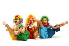 roliga clowner arkivbild