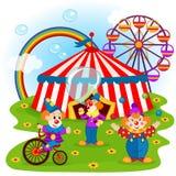 Roliga clowner och cirkus Arkivfoto