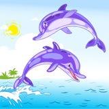 roliga delfiner vektor illustrationer
