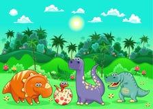 Roliga dinosaurs i skogen. Arkivbild