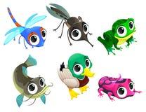 Roliga djur av dammet vektor illustrationer