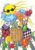 roliga djur har deltagaren royaltyfri illustrationer