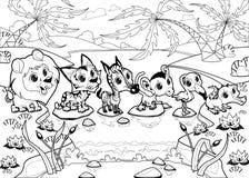 Roliga djur i djungeln royaltyfri illustrationer
