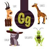 Roliga djura bokstäver av alfabetet för utvecklingen och lära av förskole- barn Uppsättning av den gulliga skogen, hemhjälpen och Arkivbild